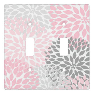 Blush pink gray floral dahlia pattern light switch cover