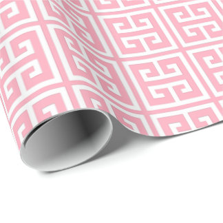 Blush Pink Greek Key Pattern Wrapping Paper