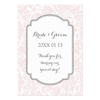 Blush Pink Grey Damask Wedding Favor Tags Pack Of Chubby Business Cards
