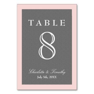 Blush Pink & Grey Elegant Table Cards