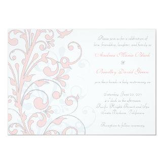 Blush Pink, Grey, & White Wedding Invitation