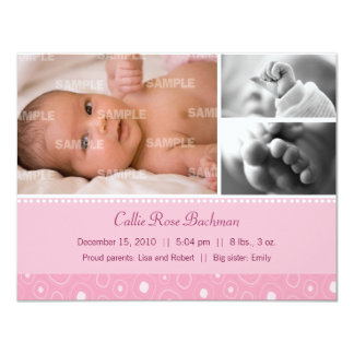 Blush Pink Gumdrop Baby Birth Card