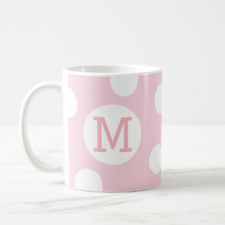 Blush Pink Hand-drawn Dots Monogram Letter Mug