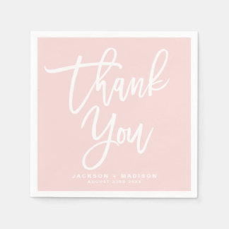 Blush Pink Hand Lettered Script Thank You Paper Napkin