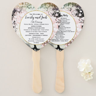 Blush Pink Heart Leaf Tree Wedding Program Black Hand Fan