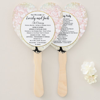 Blush Pink Heart Leaf Tree Wedding Program Hand Fan