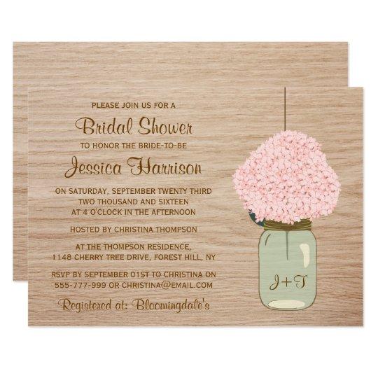 Blush Pink Hydrangea & Mason Jar Bridal Shower Card