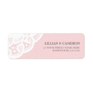 Blush Pink Lace Doily Return Address Labels