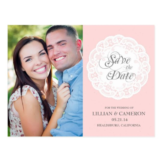 Blush Pink Lace Doily Save the Date Postcard