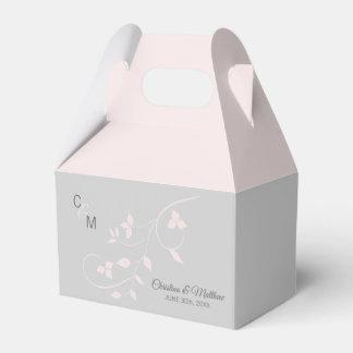 Blush Pink & Light Grey Vine Initials Thank You Favor Box
