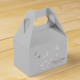 Blush Pink & Light Grey Vine Initials Thank You Favor Box