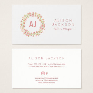 Blush pink meadow floral wreath fashion designer business card