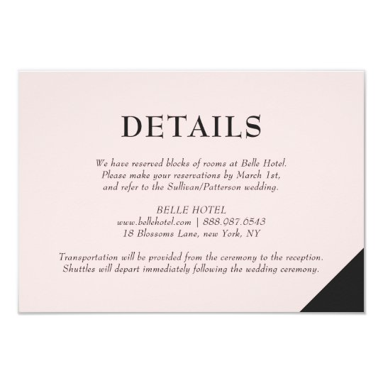 Blush Pink Modern Accents Details Accommodations Card