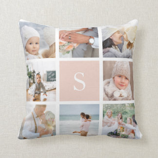 Blush Pink Monogram Photo Collage Throw Pillow