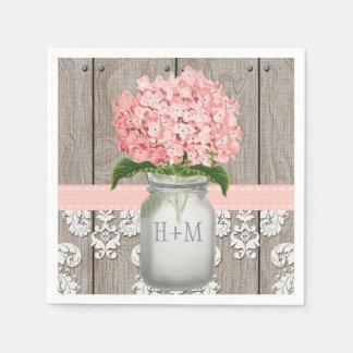 Blush Pink Monogrammed Hydrangea Mason Jar Disposable Napkin