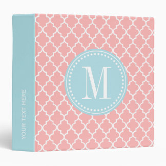 Blush Pink Moroccan Tiles Lattice Personalized 3 Ring Binder