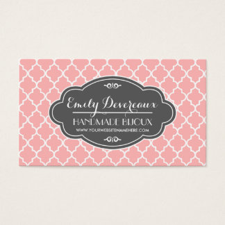 Blush Pink Moroccan Tiles Lattice Personalized Business Card
