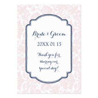 Blush Pink Navy Blue Damask Wedding Favor Tags Pack Of Chubby Business Cards