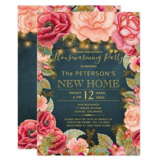 Blush pink navy gold lights housewarming party card