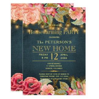 Blush pink navy string lights housewarming party card