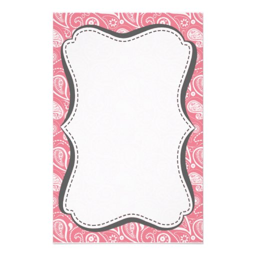 Blush Pink Paisley; Floral Personalized Stationery
