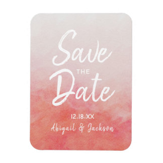 Blush Pink & Peach Watercolor Wash Save The Date Magnet