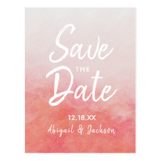 Blush Pink & Peach Watercolor Wash Save the Date Postcard