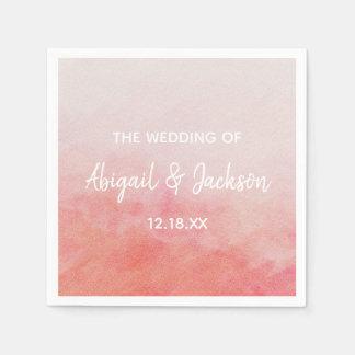Blush Pink Peach Watercolor Wash Wedding Monogram Paper Napkin
