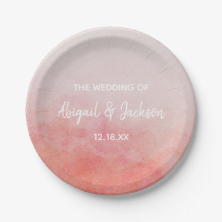 Blush Pink & Peach Watercolor Wedding Monogram Paper Plate