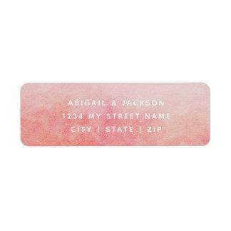 Blush Pink Peach Watercolor Wedding Return Address