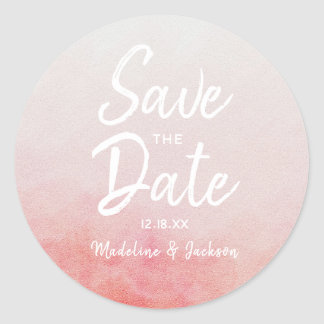 Blush Pink Peach Watercolor Wedding Save The Date Classic Round Sticker