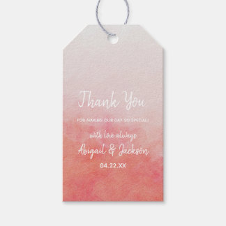 Blush Pink & Peach Watercolor Wedding Thank You Gift Tags