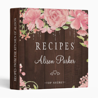 Blush pink peonies roses barn wood rustic recipes vinyl binders