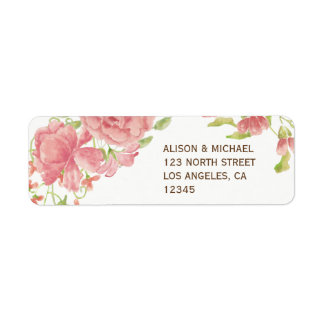 Blush pink peony roses white wedding rsvp return address label