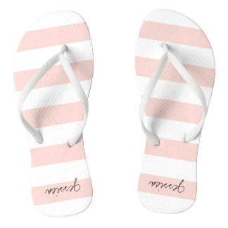 Blush Pink Personalized Stripe Thongs