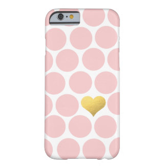 Blush Pink Polka Dots Gold Foil Heart Barely There iPhone 6 Case