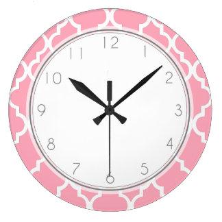 Blush Pink Quatrefoil Pattern Large Clock