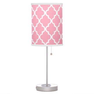 Blush Pink Quatrefoil Tiles Pattern Table Lamp