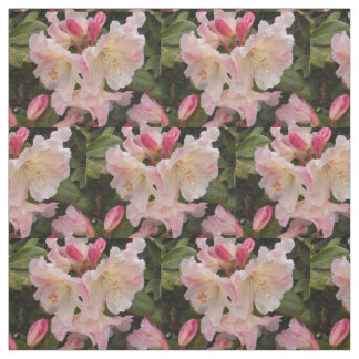 Blush Pink Rhododendrons Floral Fabric