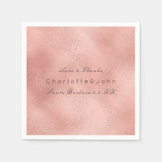 Blush Pink Rose Coral Gold Glass Metallic Lux Lace Napkin