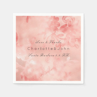 Blush Pink Rose Coral Gold White Floral Glam Lace Disposable Napkins