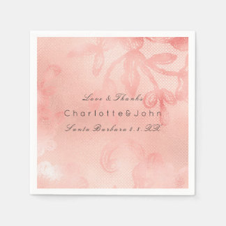 Blush Pink Rose Coral Gold White Floral Lux Lace Disposable Napkin
