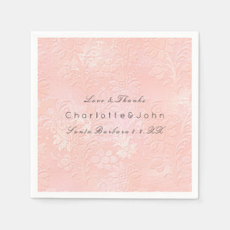 Blush Pink Rose Coral Gold White Floral Lux Party Paper Napkin
