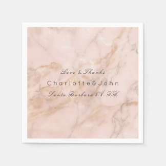 Blush Pink Rose Coral Gold White Gray Marble Party Paper Napkin