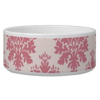 Blush Pink Rose Damask Dog Pet Bowl
