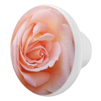 Blush Pink Rose Floral Ceramic Knob