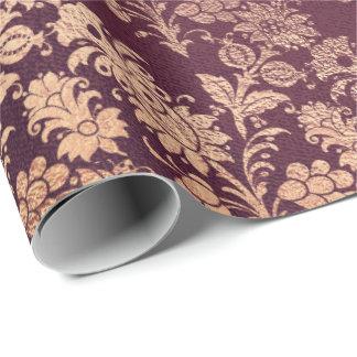 Blush Pink Rose Gold Floral Powder Floral Burgundy Wrapping Paper