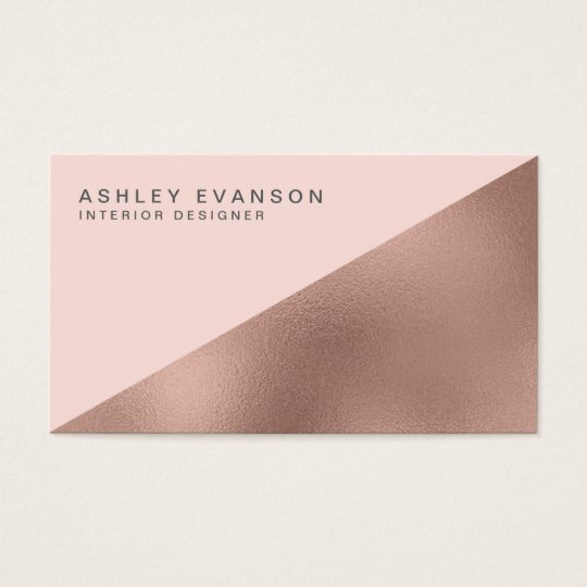 Blush Pink Rose Gold Foil Colorblock Elegant Business Card
