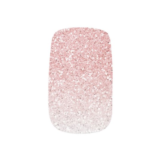Blush Pink Rose Gold Ombre Glitter Nail Art