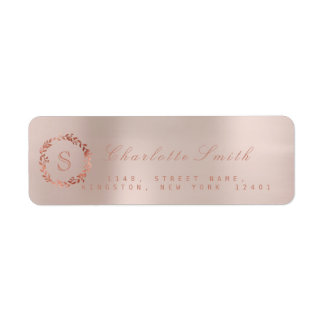 Blush Pink Rose Gold Wreath VIP Monogram RSVP Return Address Label